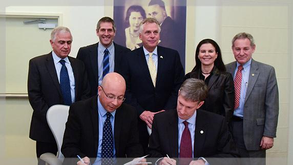 שטראוס ו-Virginia Tech חתמו על הסכם שיתוף פעולה במעמד מושל וירג'יניה